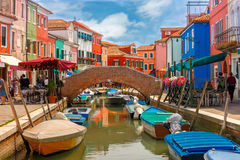 Colorful houses on the Burano, Venice, Italy Royalty Free Stock Images