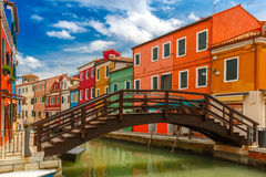 Colorful houses on the Burano, Venice, Italy Stock Photos