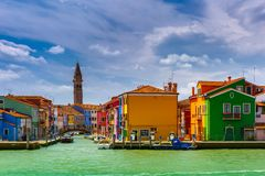 Colorful houses on the Burano, Venice, Italy royalty free stock image