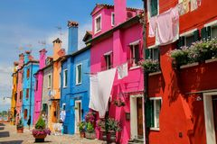 Colorful houses in Burano, Venice, Italy. Royalty Free Stock Images
