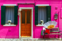 Colorful houses on the Burano, Venice, Italy Royalty Free Stock Photography