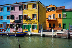 Colorful houses in Burano, Venice Italy Stock Image
