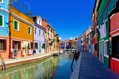 Colorful houses in Burano. Venice, Italy Royalty Free Stock Images