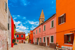 Colorful houses on the Burano, Venice, Italy Stock Photography