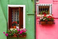Colorful houses on the Burano, Venice, Italy Stock Photo