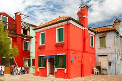 Colorful houses on the Burano, Venice, Italy Royalty Free Stock Photos