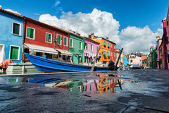Colorful houses on Burano, Venice Royalty Free Stock Photography