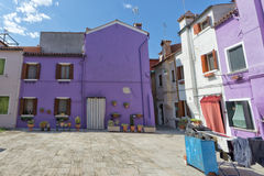 Colorful houses of Burano Venice Royalty Free Stock Photos