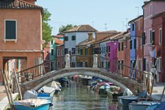 Colorful houses of Burano Venice Stock Photos