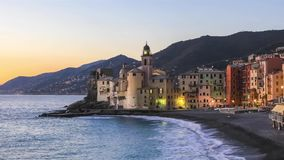Colorful houses in Camogli, Italy at dusk
