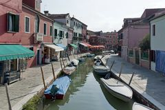 Colorful houses and canal on Burano island Royalty Free Stock Photo