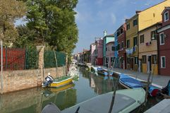 Colorful houses and canal on Burano island Royalty Free Stock Photos