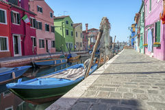 Colorful houses and canal on Burano island, Venice, Italy. Royalty Free Stock Photography