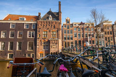 Colorful houses on the canal coast Royalty Free Stock Photography