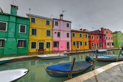 Burano - Venice, Italy. Colorful houses and canals of the island of Burano in Venice, Italy Stock Photos