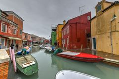 Burano - Venice, Italy. Colorful houses and canals of the island of Burano in Venice, Italy Stock Photo