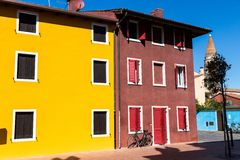Colorful houses in Caorle Italy Stock Image