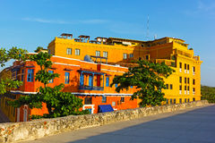 Colorful houses in Cartagena Walled City. Royalty Free Stock Image