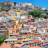 Colorful houses and a castle of Castelsardo town Stock Photos