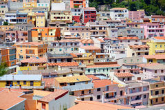 Colorful houses and a castle of Castelsardo town Stock Photo