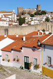 Colorful houses and castle. Obidos. Portugal Stock Photography