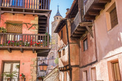 Colorful houses and the cathedral in Albarracin Stock Photography