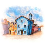 Colorful houses on the Burano, Venice, Italy. Colorful houses and church on the famous island Burano, Venice, Italy. Picture made markers royalty free stock images