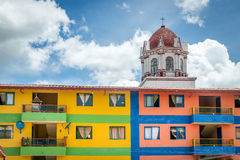Colorful houses and church - Guatape, Colombia Royalty Free Stock Photo