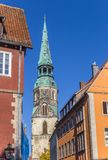 Colorful houses and church tower in Hannover Royalty Free Stock Photo
