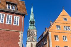 Colorful houses and church tower in Hannover Royalty Free Stock Image