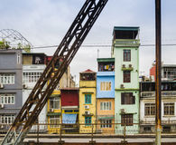 Colorful houses in the city center of Hanoi, Vietnam Stock Image