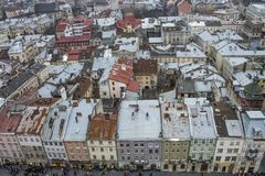 Colorful houses in the city center, Lviv, Ukraine. Colorful houses in the city center Royalty Free Stock Photography