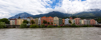 Colorful houses at the city of Innsbruck Stock Images