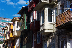 Colorful houses on city street - Istanbul Stock Image