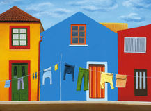 Colorful houses with clothes line in Portugal Stock Photography