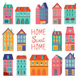 Colorful houses collection. Home sweet home set Stock Image