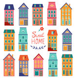 Colorful houses collection. Home sweet home set Royalty Free Stock Photography
