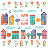 Colorful houses collection. Home sweet home set Stock Photo