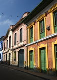 Colorful houses in Colombia. Colonial house in La Candelaria, Bogota, Colombia stock photography