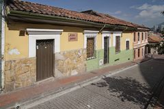 Colorful houses in Colombia stock photo
