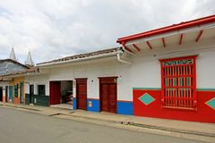 Colorful houses in colonial city Jardin, Antoquia, Colombia stock photos