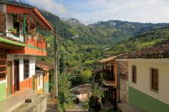 Colorful houses in colonial city Jardin, Antoquia, Colombia stock images