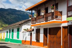 Colorful houses in Jardin, Antoquia, Colombia. Colorful houses in colonial city Jardin, Antoquia, Colombia, South America Stock Photos