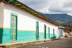 Colorful houses in Jardin, Antoquia, Colombia. Colorful houses in colonial city Jardin, Antoquia, Colombia, South America Stock Images