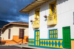 Colorful houses in Jardin, Antoquia, Colombia. Colorful houses in colonial city Jardin, Antoquia, Colombia, South America Royalty Free Stock Images