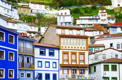 Colorful houses. Colorful windows and facades in Cudillero, Spai Royalty Free Stock Images