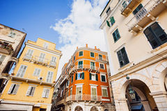 Colorful houses of the Corfu town, Ionian islands, Greece Stock Photos