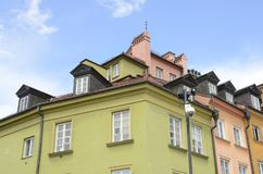 Color houses in Warsaw. Colorful houses on corner at the Castle Square in Warsaw, Poland stock images