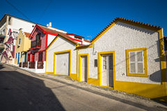 Colorful houses in Costa Nova, Aveiro, Portugal royalty free stock image