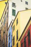 Colorful houses in downtown of Genova royalty free stock photos